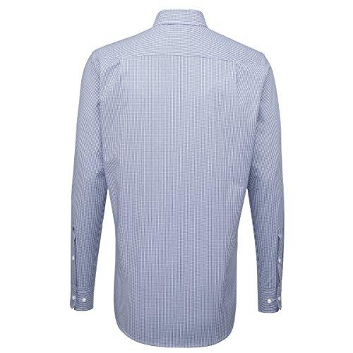 SEIDENSTICKER Herren Hemd Comfort 1/1-Arm, extra lang Bügelfrei Karo City-Hemd Button-Down-Kragen Kombimanschette weitenverstellbar blau (0015)