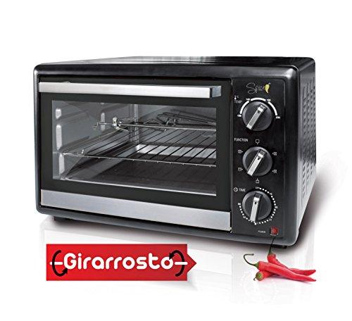 Spice - Forno Elettrico Ventilato Habanero con Girarrosto - 40 litri - 1500 watt - Doppio Vetro - 5 selezioni di cottura differenti inclusa cottura senza ventilazione ...