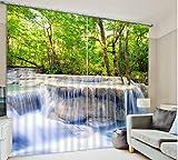 H&M Gardinen Vorhang Jungle-Fälle Wasser UV ein warmer Schatten Tuch dekoriert Schlafzimmerfenster Vorhangstoff fertigen 3D-Druck , wide 2.64x high 1.6