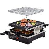 Syntrox Germany Chef-Grill_RAC-600W_Brienz Raclette antiaderente e piastra naturale (pietra calda) per 4 persone, Design in acciaio inox