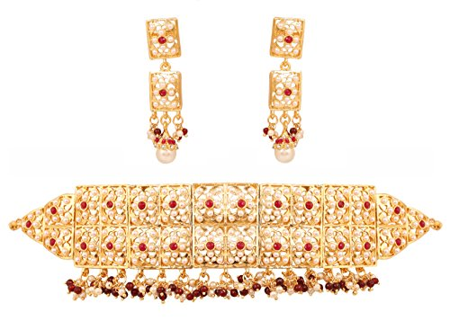 Touchstone Indian bollywood Mughal era inspired jadau faux pearls ruby grand bridal jewelry choker necklace set in gold tone for women