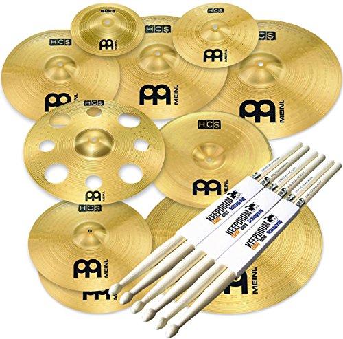 Meinl Cymbals HCS-SCS1 Ultimate Cymbal Set Beckenset 9 teilig + KEEPDRUM Drumsticks 3 Paar