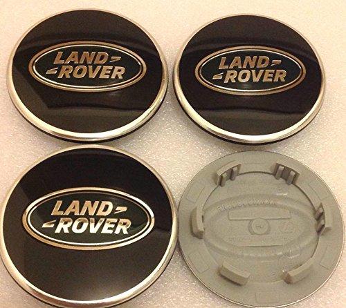 4 x Land Rover 63 mm cache-moyeux Lot de 4 enjoliveurs Jante Couvercle Chromé Noir