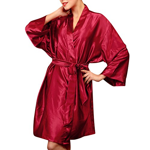 Donna Pigiama Kimono Night Dress Corta Elegante Vestaglia Vino Rosso