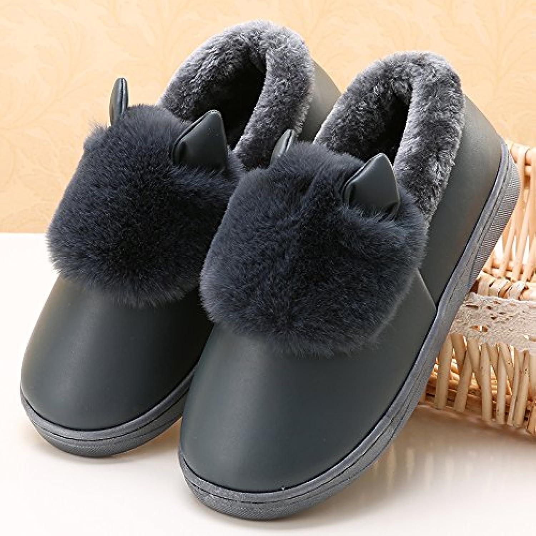 YMFIE Zapatillas de algodón de invierno las parejas interiores cálidos impermeable antideslizante zapatillas zapatos  -