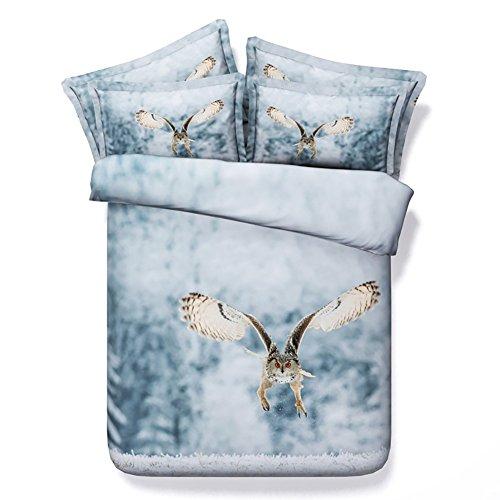 HUANZI bettwäsche Bettbezug 3D Katze im Schnee Muster Bett Set Bettbezug und Kissenbezug Double Size Bettbezug-Weiß, 200 * 220