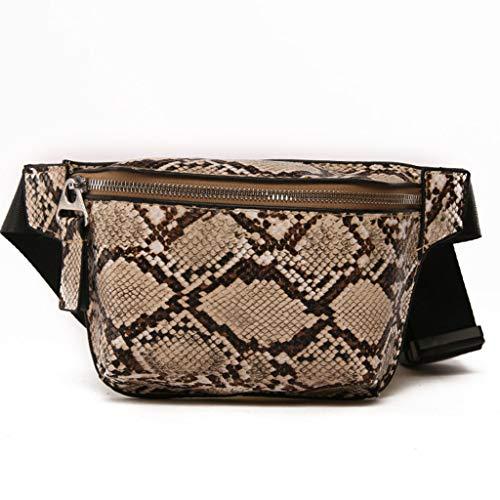 qingqingR Mujeres Patrón de Piel de Serpiente Cintura Riñonera Cinturón Bolso de Hombro de Cuero Viaje Cadera Bum Bolso pequeño Bolsa de Pecho