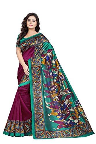 216a9745ec8 Jaanvi Fashion Women  s Art Silk Kalamkari Printed Saree (Wine Warli)