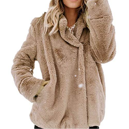 (Damen Mantel Fleece MYMYG Open Front Woolen Sweater Mantel Jacket Plüsch Mäntel Jacken Parka Warme Strick Mantel Strickjacke Basic Baumwolle Pullover (A4-KhakiEU:34/CN-S))