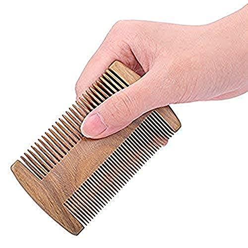 Kamm Massage Holzkamm doppelseitig Bartkamm 10cm Breite für dicke und feines Haar antistatisch natürliche Sandelholz kamm weiche unisex Haarborstenbürste Haarkamm für Damen Herren (Dickes Fein Haar)