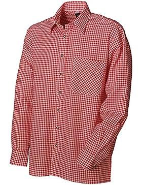 Trachtenhemd Leonard Langarm mittelrot Karo OS Trachten