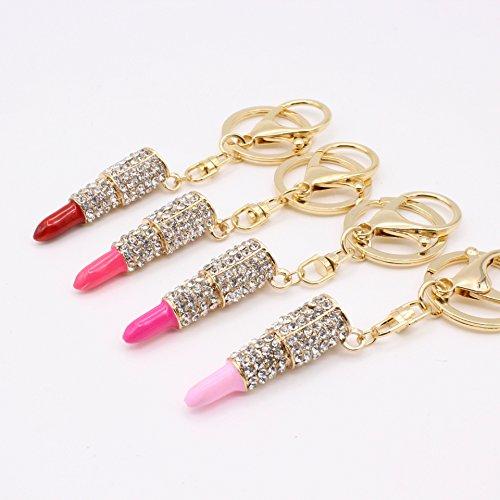 BRZM Schlüsselanhänger, Strasssteine, Lippenstift, Schlüsselanhänger, Zubehör, Lipgloss...