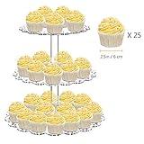 BESTONZON Tortenständer mit 3 Etagen, Desserts, Cupcakes, Ständer und Obstteller, Party-Servierplatte, für Geburtstag, Unkrautparty (rund) - 4