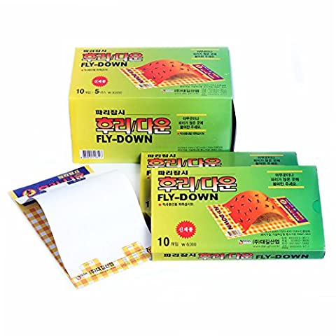 FLY DOWN - Glue Trap Flies Moths Fruit-Flies Repellent - Disposable Non-Toxic Sticky Glued Paper - 50 Traps (8.5