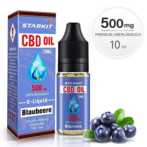 STARKIT® CBD E Liquid 500mg, Vape Öl 10ml mit 5{a9a340ddd6472f10f5fbdfe6d43b302b888473c3d53753065836cbdd82b3f493} Cannabidiol Hanf Öl für E Zigarette Starter Set SMOK E Shisha, PG70/VG30 Eliquid, ohne Nikotin, ohne THC (Blaubeere Geschmack,500mg)