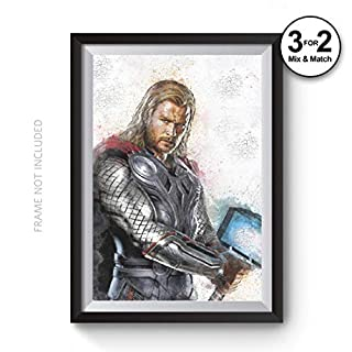Thor Hammer Wall Art Print, The Avengers Abstract Movie Poster, Marvel Comic Book Superhero 100% Cotton Art Print