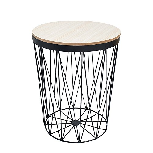 Moderner Couchtisch Beistelltisch STORAGE II aus Metall schwarz mit Holzdeckel Korb Aufbewahrung Tisch mit Eiche Ablage Aufbewahrungkorb