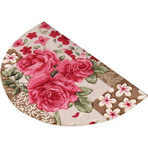 Paillasson semi-circulaire, tapis durables anti-dérapants de Rose, tapis antidérapant de porte de salle de bains (Size : 45 * 70cm)