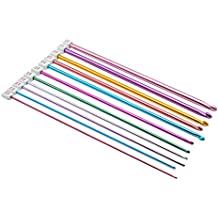 damowa 11unidades de ganchillo diverso tamaño Assorted color aluminio afgano tunecina juego de agujas de punto (2mm a 8mm)