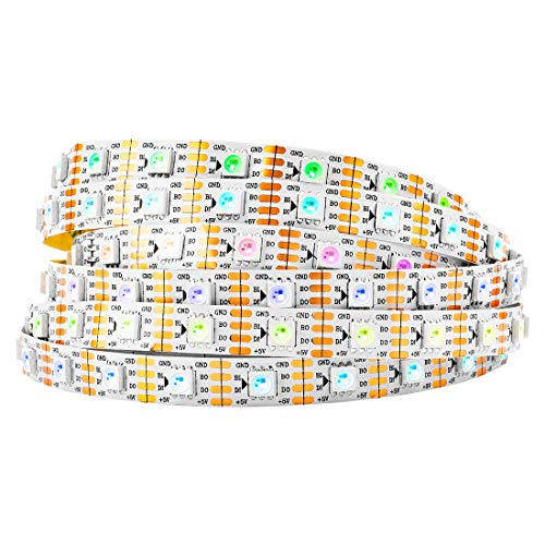 BTF-LIGHTING WS2813 (aktualisiert WS2812B) 5m 300 individuell digital adressierbare Pixel RGB-Dual-Signal-LED Flexibles Lichtband 5050 SMD IP30 Nicht wasserdicht Magic Dream Color DC5V Weiß PCB -