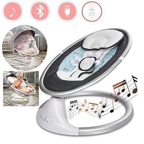LLVV Babywippen & -schaukeln Infant Bouncers & Rockers Swings & Chair Bouncers Intelligente zeitgesteuerte Touch-Taste für Fernbedienung, Verbindung mit Bluetooth USB, mit Dach und Moskitonetz
