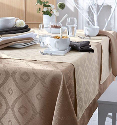 Nappe Brunch Ecru polyester ovale 180x300 ~ Tradilinge