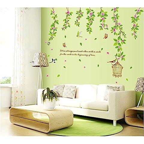 ufengke® Jardín Verde Vid de la Flor, Jaula de Pájaros y Mariposas Pegatinas de Pared con Citas, Sala de Estar Dormitorio Removible Etiquetas de la pared / Murales
