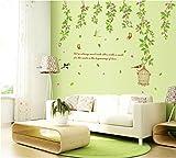 ufengke® Grünen Garten Blume Reben, Vogelkäfig und Schmetterlinge Wandsticker mit Zitaten,Wohnzimmer Schlafzimmer Entfernbare Wandtattoos Wandbilder