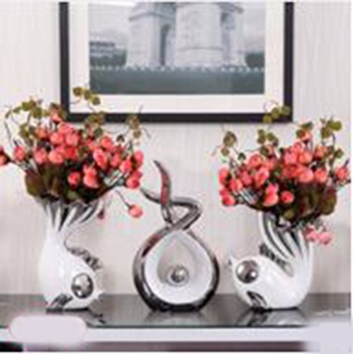 Jrfba Ceramic Wedding Gift European Ceramic Vase Living Room Tv Cabinet Cabinet Decor Decoration Creative Arts And Crafts Lovers Fish Fish Rose Bud Felicitous Wish Of Making Money, B