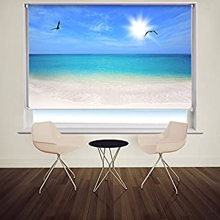 Birds Flying over the Tropical Beach Blue Sea Ocean Printed Photo Roller Blind - Custom Made Printed Picture Window Blinds