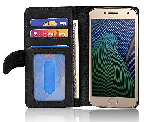 Cadorabo Hülle für Motorola Moto G5 Plus - Hülle in Oxid SCHWARZ – Handyhülle mit 3 Kartenfächern - Case Cover Schutzhülle Etui Tasche Book Klapp Style
