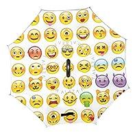 FOOFLH Funny Emoji Pattern Reverse Umbrella C-Hook Double Layer Inverted Umbrellas Women Umbrella Children Men