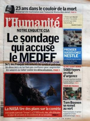 HUMANITE (L') [No 18935] du 05/07/2005