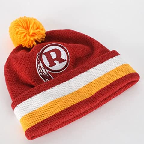 NFL Mitchell & Ness Washington Redskins Burgundy-Gold Throwback Jersey Striped Cuffed Knit Beanie by Mitchell & Ness