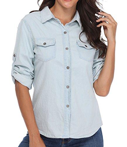 Chemises en Denim Blouses à col Rabattu Poches de Poitrine Roulé Manches Longues à Boutonnage Simple Bleu Clair Plain - XS