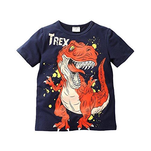 Gold Treasure Bebé niños niños Tee 100% algodón calidad camiseta estampada de niños superior ligero fácil cuidado de dinosaurio Trex Talla 2 años