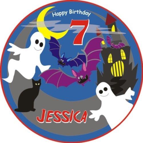 Runde Kuchenauflage für Ihre Gespensterparty zum Kindergeburtstag, essbarer Tortenaufleger für Mottoparty Gespenster, Geister oder eine Gruselparty zu Halloween +Name +Alter vom Geburtstagskind, mit Tortenbeschriftung: HAPPY BIRTHDAY (Namen Halloween Für)