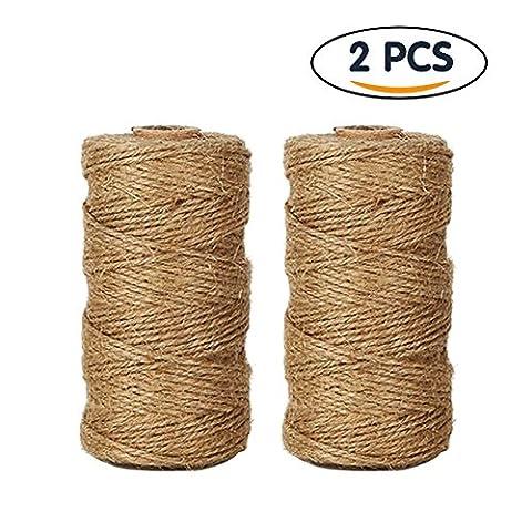 2Stück Jute Twine Rope & #-; 1Lagig natur Jute Twine String für Kunst DIY Handwerk Home Wand-Decor Verpackung String für Geschenke Bündelung Garten Anwendungen (je 100metres)