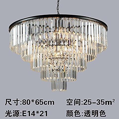 SJUN—American Vintage Cristal Lámpara Led Europeo Dormitorio Salón Creativo Lámparas De Araña De,A(80 * 65Cm)