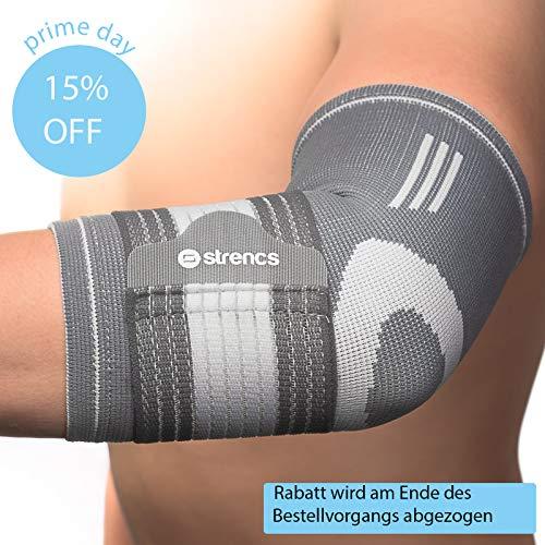 strencs ® Damen & Herren Ellenbogenbandage (ideal als Sportbandage)   Mehr Stabilität durch extra Band (S/M)