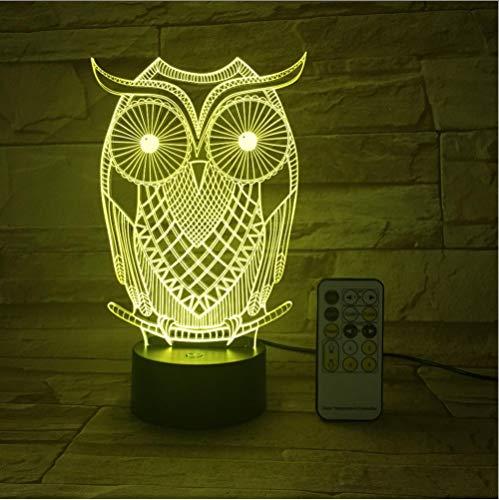 fice Bar Owl Nachtlicht 3D Usb Touch Switch Fernbedienung Acryl Gravieren 7 Farbverlauf Atmosphäre Tischlampe Berührungsschalter ()