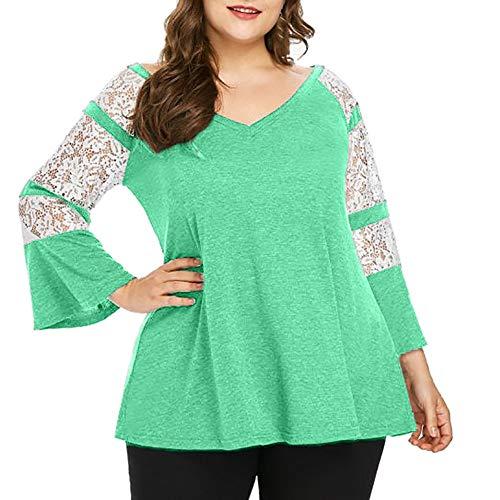 VEMOW Damen Plus das Ausmaß Fashion Sommer Herbst Lady Lace Langarm T-Shirt Casual Top Bluse(X5-Grün, EU-50/CN-4XL)