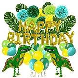 iPenty Geburtstagsballon Geburtstag Dekoration Set Kindergeburtstag Deko Geburtstagsparty Dekoration mit Geburtstag Buchstaben Flagge Dinosaurier Ballon Blume Ball 55pcs/63pcs