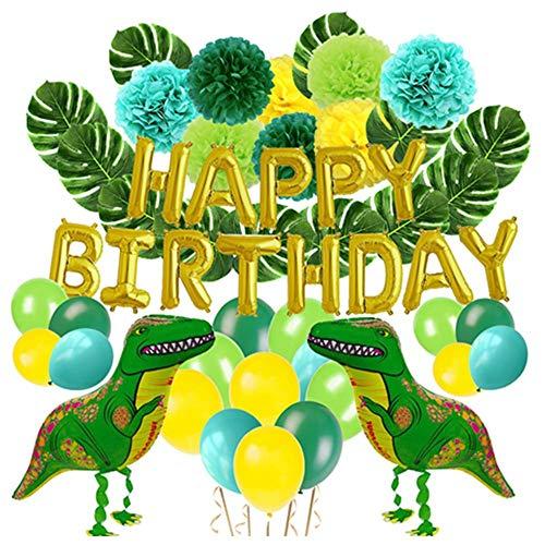 poetryer 55/63 unids Dinosaurio Globos Fiesta Set Aniversario Carta Bandera Tortuga Volver Hoja Dinosaurio Globo Papel Flor de Bola Niños Cumpleaños decoración