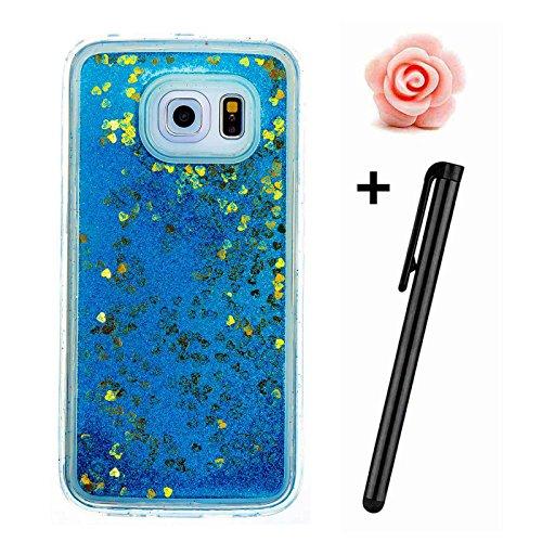 Samsung Galaxy S6 Hülle Glitzer,Galaxy S6 Flüssig Schutzhülle,TOYYM Flexibel Weich Klar Krystal Transparent Handyhülle Bling Fließen Flüssigkeit Handy Hülle Case mit Kreativ Karikatur Muster,Silikon T Blau,Gelb