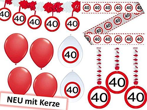 Geburtstag Dekoset Dekobox - Verkehrschild - Girlanden, Luftballons (40 Geburtstag Dekorationen)