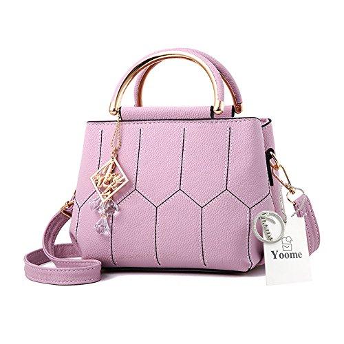 Sacchetti alla moda Yoome per ragazze in scuola superiore Borse eleganti per la borsa della maniglia per le donne Borse per signore - Grigio Viola