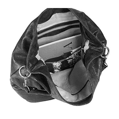 OBC Femmes Métallique Sac Shopping Hobo Sac Sac À Bandoulière Sac À Main À Poignées sac - Argent 45x34x13, ca 45x34x13 cm (LxHxP) Silber 30x32x16