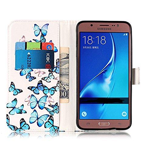 Samsung Galaxy J7 2016 Custoida in Pelle Portafoglio,Samsung Galaxy J7 2016 Cover Pu Wallet,KunyFond Lusso Moda Marmo Dipinto Leather Flip Protective Cover con Bella Modello Cover Custodia per Samsung Piccola farfalla blu