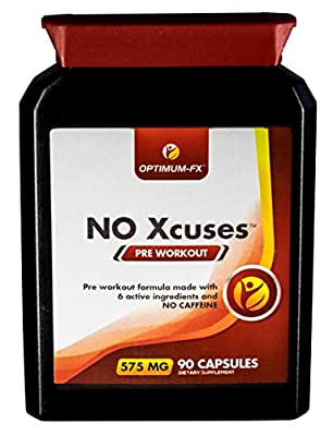 Pre Workout Capsules with Creatine – Caffeine Free Supplement - 50% Extra FREE (90 Tablets for the Price of 60) – Money Back Guarantee: NO Xcuses from Optimum-FX